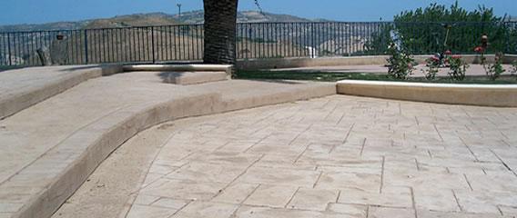Dekorativ stämplad präglad betong
